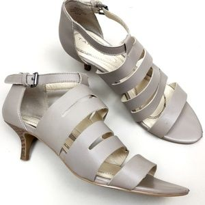 Tahari Grey Leather Strappy Sandal Heels